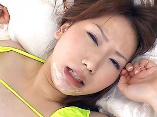 Asian milf in green bikini, Ai Sayama gets fucked hard and cummed on