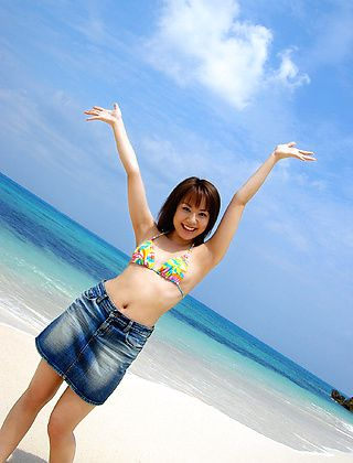 Chikaho Ito Asian Model Enjoys Posing On The Beach