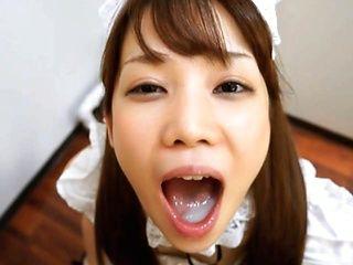 Beautiful Maid Ria Mikotori On Her Knees Sucking Dick