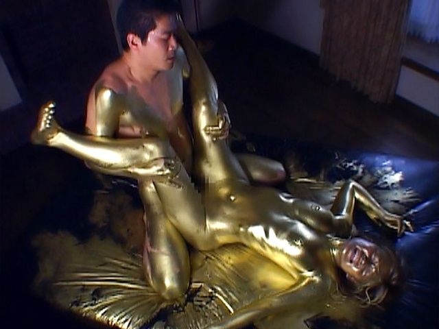 Covered in gold Asian bimbo fucked until exhaustion