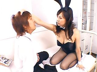 Japan milf in sexy costume plays with cock in sleazy ways