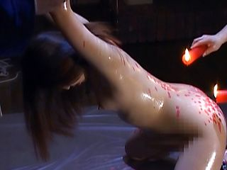 Reina Inamori naughty Asian babe gets hot wax on her tiny tits