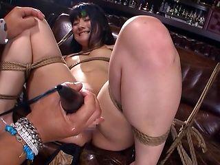 Asian doll An Koshi endures bondage and hardcore anal fucking