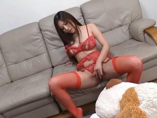 Yuna Shiina naughty Asian milf in red enjoys masturbation