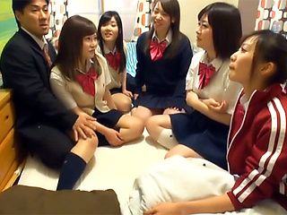 Naughty Asian teens in wild group action  with one guy