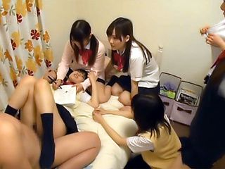 Japanese schoolgirls gone wild on strong cock
