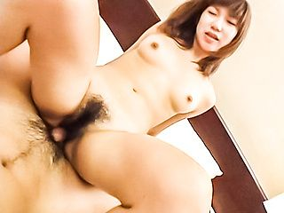 Naughty Asian Riho Mishima gets hairy pussy plowed