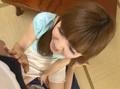 Beautiful Japanese readhead gives her boyfriend a blowjob on pov