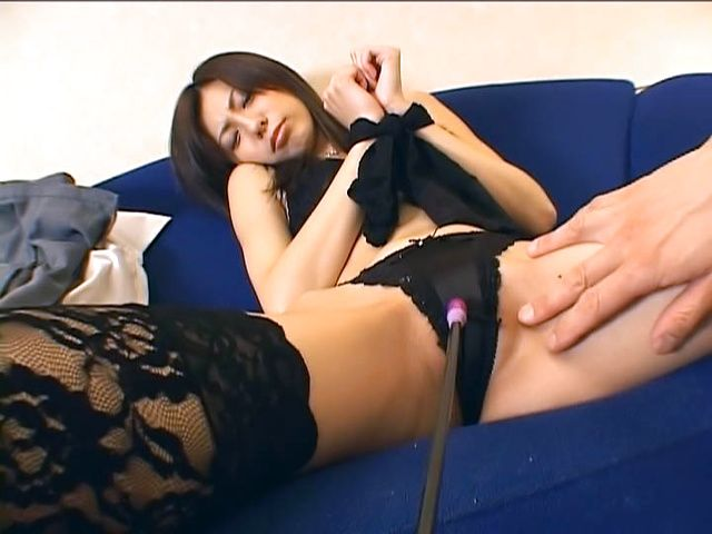 Horny milf Noa in sexy black stockings inserted with toys