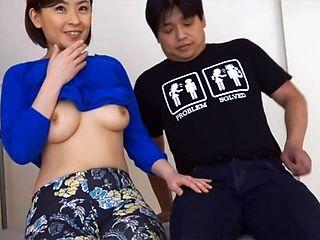 Busty Asian amateur is a hot mature enjoying giving hot handjob