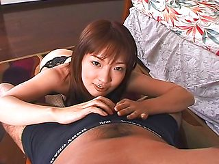 Horny big assed babe in sexy lingerie gives head