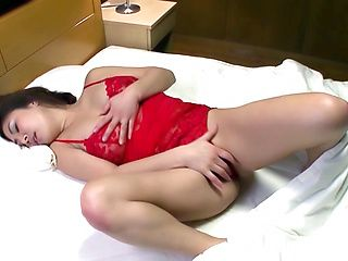 Arousing Japanese AV model in red lingerie gets facesitting
