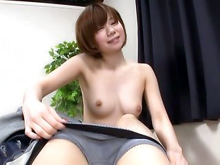 Sexy Japanese AV model gets seduced in fucking on cam