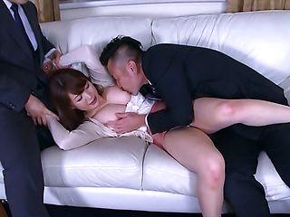 Yuuka Tachibana Asian milf gets plenty of attention in threesome