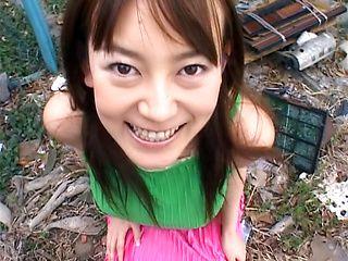 Horny MILF Minami Hoshikawa gives a tit fuck in the garden