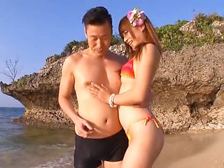 Christine Kitajima sexy Asian chick in bikini is into outdoor fucking