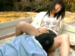 Japanese teen enjoys outside sex adventures