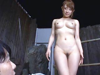 Naked Asian babe, Yuu Konishi enjoys sex in the outdoor bath