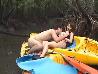 Hot Asian babe gets fucked hard outdoors