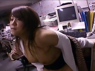 Naughty Asian office lady gets drilled at work