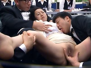 Japanese AV model gets amazing group fuck action