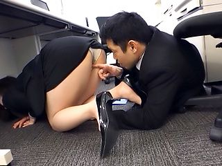 Hot Japanese AV model is a hot office lady getting banged