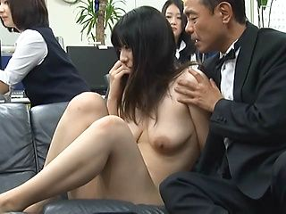 Lovely Asian office lady is hot for public sex in a group