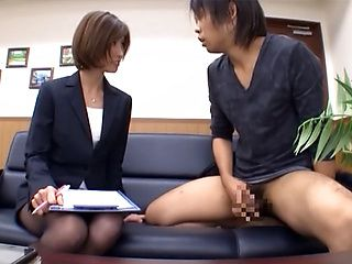 Asian office lady, Akari Asahina is a  hot milf in sexy pantyhose