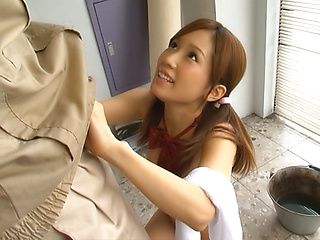 Teen with pigtails, Minami Kojima gives a steaming blowjob