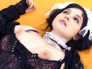 Amazing beauty has cum on her hard tits