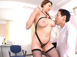 Crazy Japanese mature teacher Yumi Kazama gets her big tits fucked