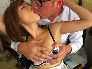 Busty teacher Kirishima Rino fucked and creamed