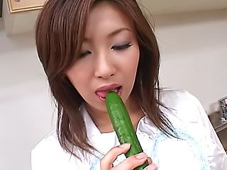 Talented Saku Momona drills slit with vegetables on Asian anal porn
