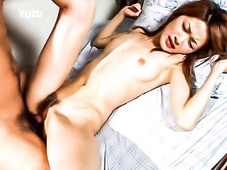 Slender babe Mai Asakura uses a dildo and fucks hard