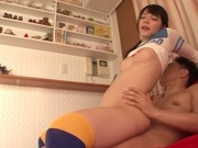 Frisky Japanese teen cheerleader Uehara Ai in a kinky sex actionasian wet pussy, horny asian}