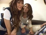 Japanese AV models give a hot blowjob