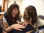 Japanese AV models give a hot blowjob