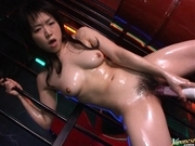 Japanese AV model pokes her tight pussy with a dildo