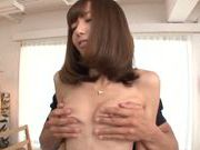 Small-tittied cutie Aino Kishi swallows cum after hard fuck