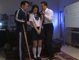 Innocent Asian teen Yuri Hasegawa enjoys hot sex in a threesome picture 13