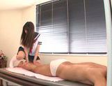 Attractive Japanese schoolgirl Rio Ogawa gives a handjob picture 11