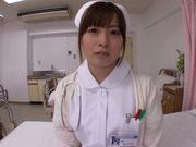 Horny nurse Hirono Imai enjoys a huge cock riding