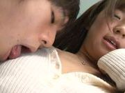 Gorgeous Japanese AV model Rino Nanse sucks thick cock