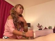 Creamed pussy of hot Asian blonde Chika Kitano