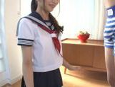 Lovely looking Mikuru Hirase gets load of cum on face picture 11