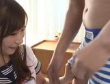 Lovely looking Mikuru Hirase gets load of cum on face picture 15