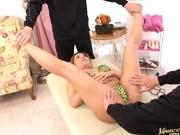 Nana Yokohama Asian model gets her pussy spread to show it off