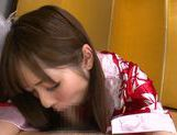 Young amateur asian Riho Nanase gives deep blowjob picture 12