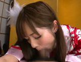 Young amateur asian Riho Nanase gives deep blowjob picture 15