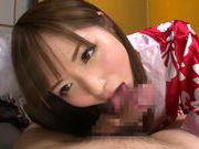 Young amateur asian Riho Nanase gives deep blowjob